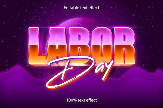 Labor day editable text effect retro style