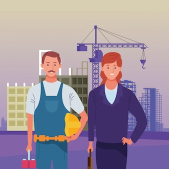 Labor day employment occupation national celebration, builder with executive business woman workers in front city construction view illustration