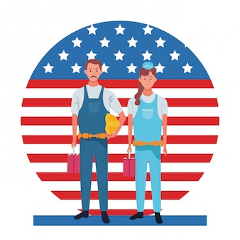 Labor day employment occupation national celebration, builders workers in front american united states flag illustration