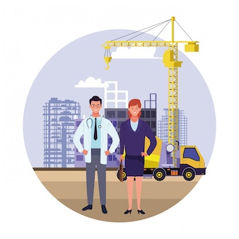 Labor day employment occupation national celebration, doctor with business woman workers in front city construction view illustration