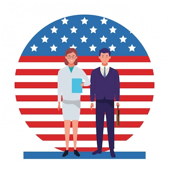 Labor day employment occupation national celebration, doctor woman with business man workers in front american united states flag illustration