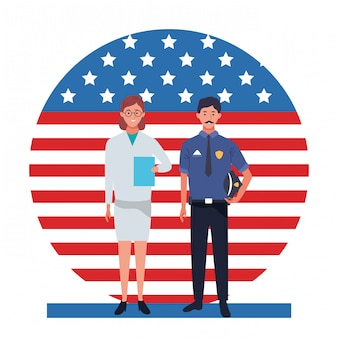 Labor day employment occupation national celebration, doctor woman with police man workers in front american united states flag illustration