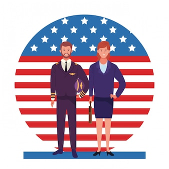 Labor day employment occupation national celebration, pilot with business woman workers in front american united states flag illustration
