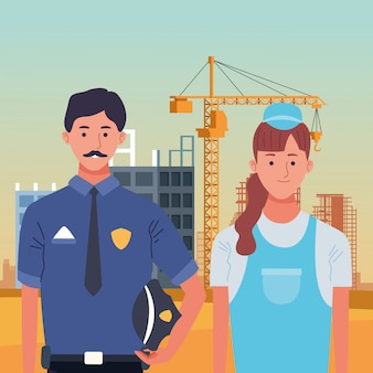 Labor day employment occupation national celebration, police man with builder woman workers in front city construction view illustration