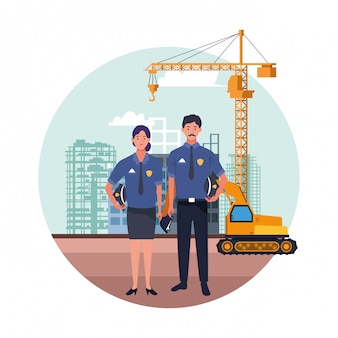 Labor day employment occupation national celebration, police officers workers in front city construction view illustration