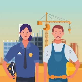Labor day employment occupation national celebration, police woman with builder man workers in front city construction view illustration