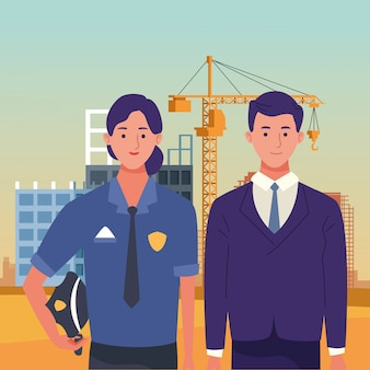Labor day employment occupation national celebration, police woman with executive business man workers in front city construction view illustration