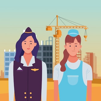 Labor day employment occupation national celebration, stewardess with builder woman workers in front city construction view illustration