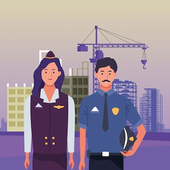 Labor day employment occupation national celebration, stewardess with police man workers in front city construction view illustration