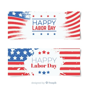 Labor day flag banners