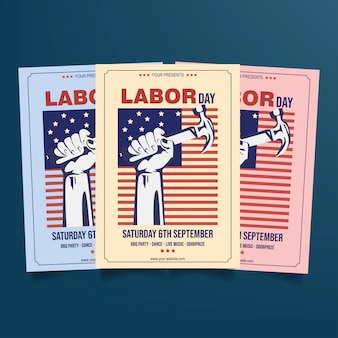 Labor day flyer template vector