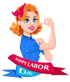 Labor day greeting card. pop art