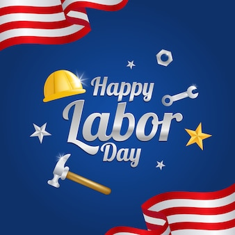 Labor day greeting card with the american flag.
