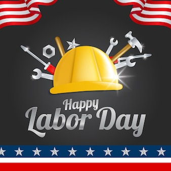 Labor day greeting card with the american flag