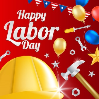 Labor day greeting card with helmet workers.