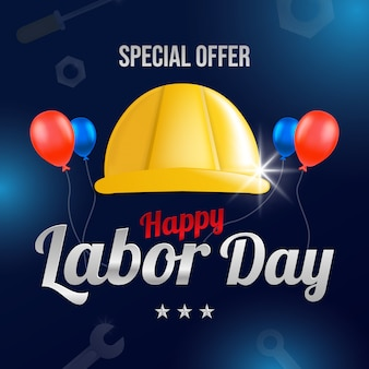 Labor day greeting card with helmet workers