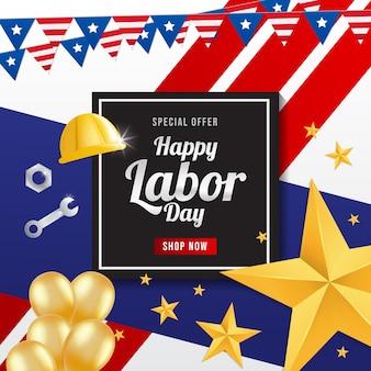 アメリカの旗が付いた労働者の挨拶カード。