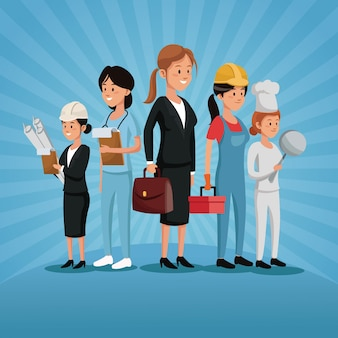 労働者グループの女性労働者の様々な職業