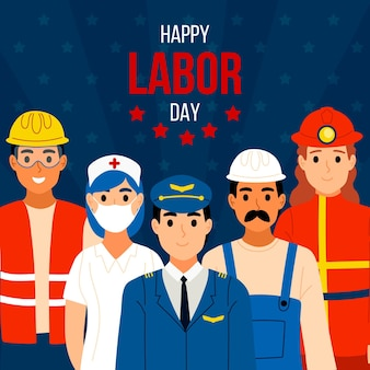 Labor day hand drawn background