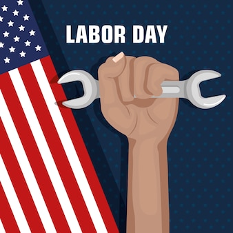 Labor day hand fist raised and tool