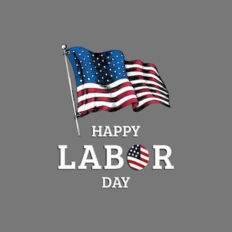 День труда, ручная надпись. иллюстрация национального американского праздника с нарисованным флагом сша в стиле гравировки.