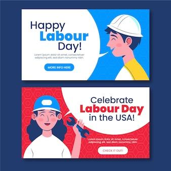 Labor day horizontal banners set