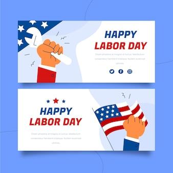 Set di banner orizzontali per la festa del lavoro