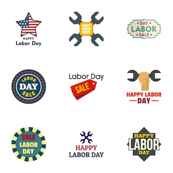Labor day icon set. flat set of 9 labor day vector
