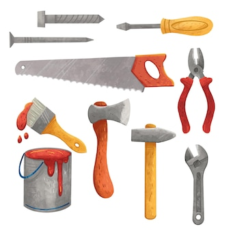 Labor day illustration, tools, screwdriver, saw, wrench, axe, hammer, paint or varnish, brush, pliers, self-tapping screw