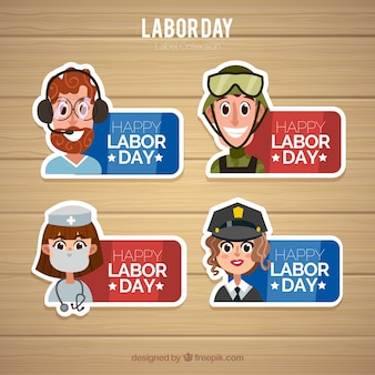 Labor day label collection with flat design