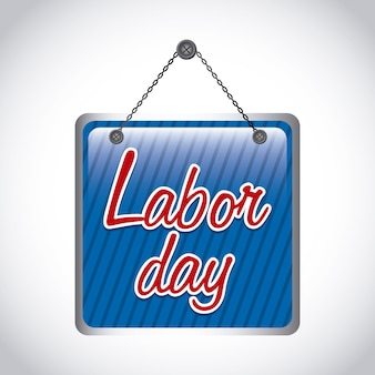 Labor day label over gray background vector illustration