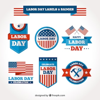 Labor day labels and badges collection in flat style