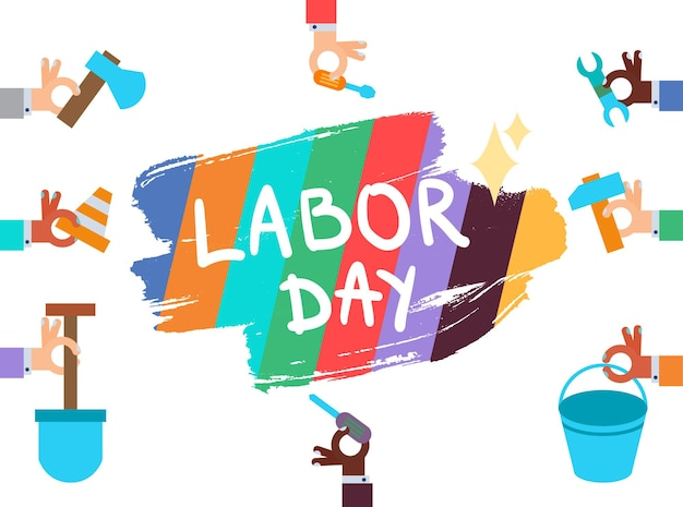 Labor day lettering greeting banner in view ribbon with hammer, screwdriver, spanner, tool. first may poster. vector