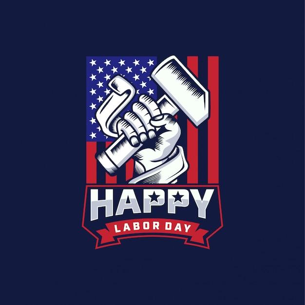 労働者の日ロゴ背景デザインのベクトル