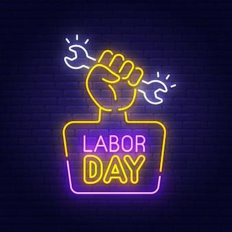 労働者の日のネオンサイン