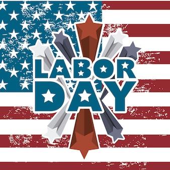 アメリカの旗の背景に労働日
