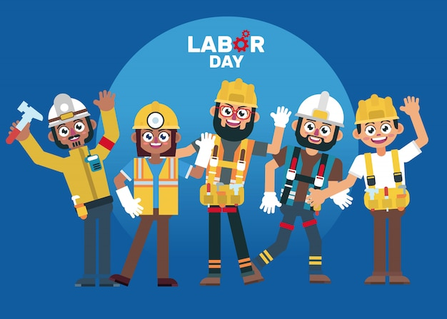 Labor day people character celebrating