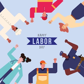 Labor day postcard with professionals workers