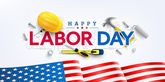 労働者の日ポスターテンプレート。アメリカの国旗と米国労働者の日のお祝い