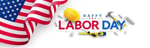 Шаблон плаката ко дню труда. празднование дня труда в сша с американским флагом
