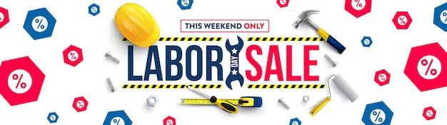 Labor day poster templateusa labor day celebration with safety hard hat and construction tools