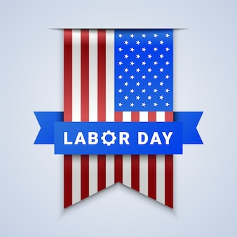 Labor day ribbon banner