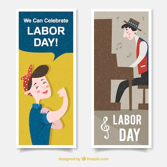 Labor day's banners with pianist and strong woman in flat design