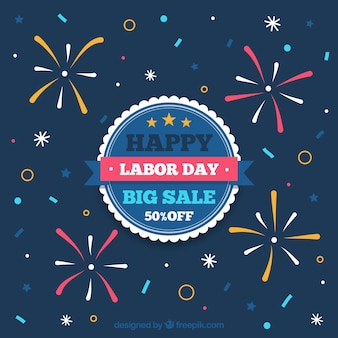 Labor day sale background with fireworks