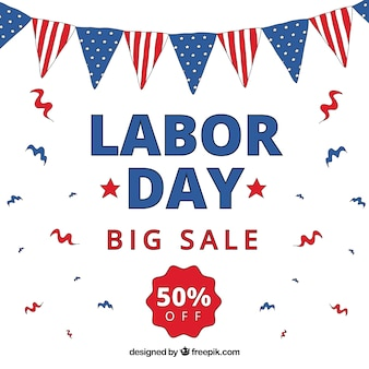 Labor day sale background with pennants