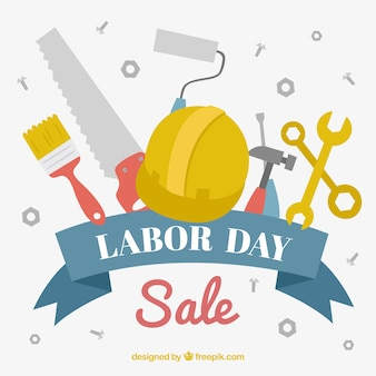 Labor day sale background with tools