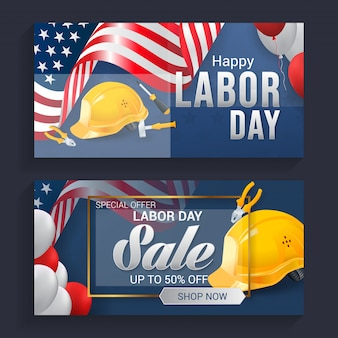 Labor day sale banner background vector