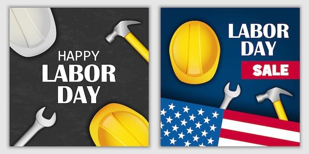 Labor day sale banner set
