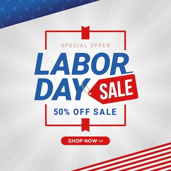 Labor day sale banner template design discount promotion