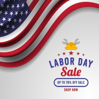 Labor day sale banner with american flag premium vector